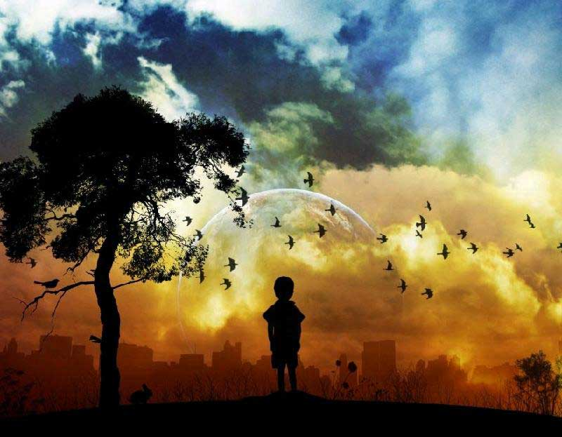 child-dreaming-silhouette-painting